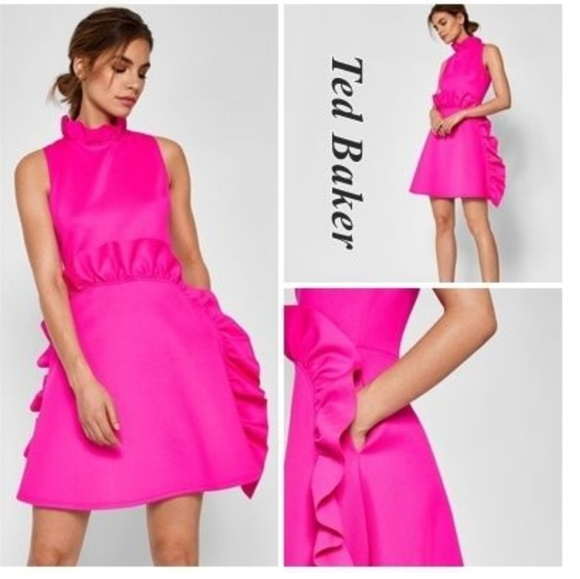 8aabf9d757 Ted Baker Jannett Laser Cut Ruffle Dress. M_5bc0b413df0307461f7b38bc